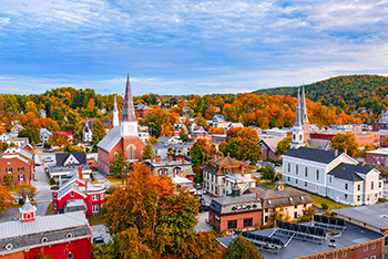 overhead view of Montpelier, Vermont